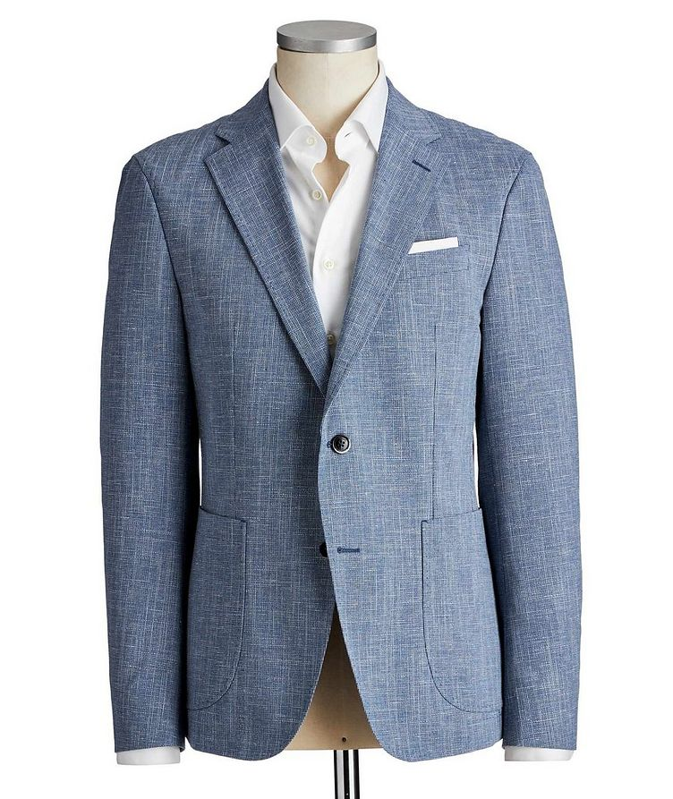 Slim Fit Mini-Houndstooth Wool, Cotton & Linen Sports Jacket image 0