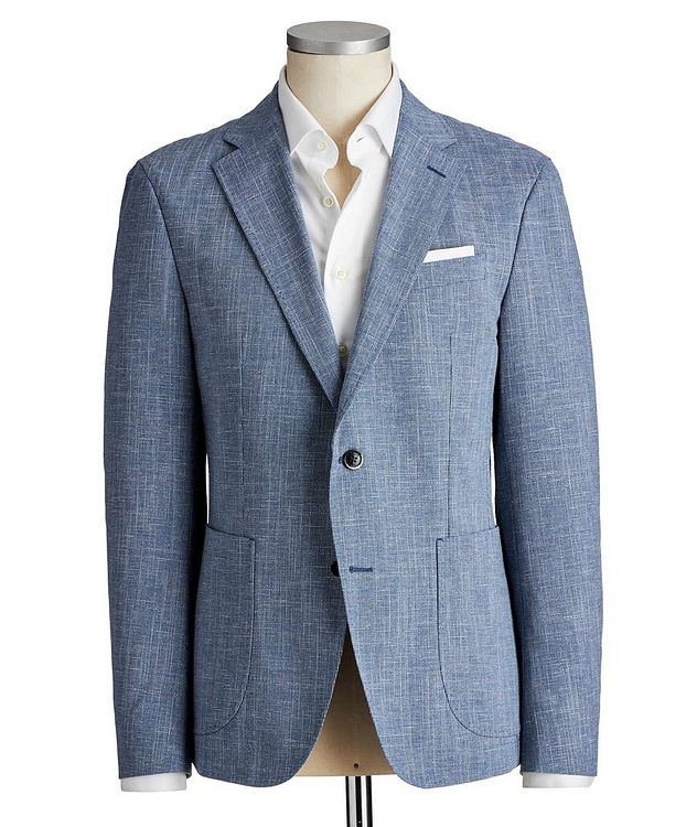 Slim Fit Mini-Houndstooth Wool, Cotton & Linen Sports Jacket picture 1