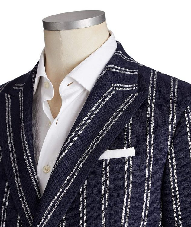 Slim Fit Striped Wool-Blend Sports Jacket picture 2