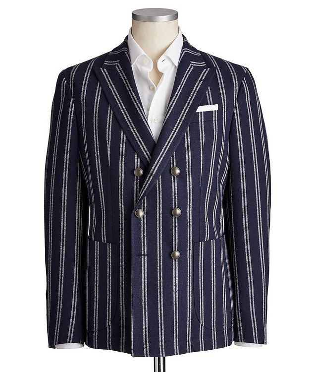 Slim Fit Striped Wool-Blend Sports Jacket picture 1