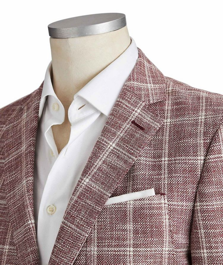 Slim Fit Checked Cotton, Linen and Wool Sports Jacket image 1