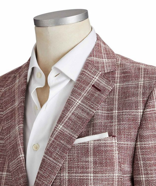 Slim Fit Checked Cotton, Linen and Wool Sports Jacket picture 2