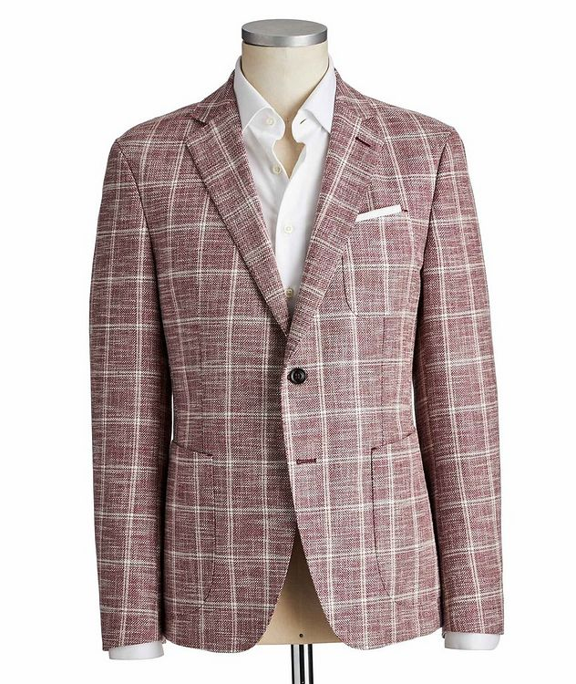 Slim Fit Checked Cotton, Linen and Wool Sports Jacket picture 1