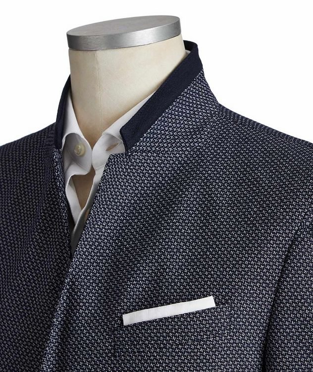 Slim Fit Diamond-Printed Cotton-Blend Sports Jacket picture 2