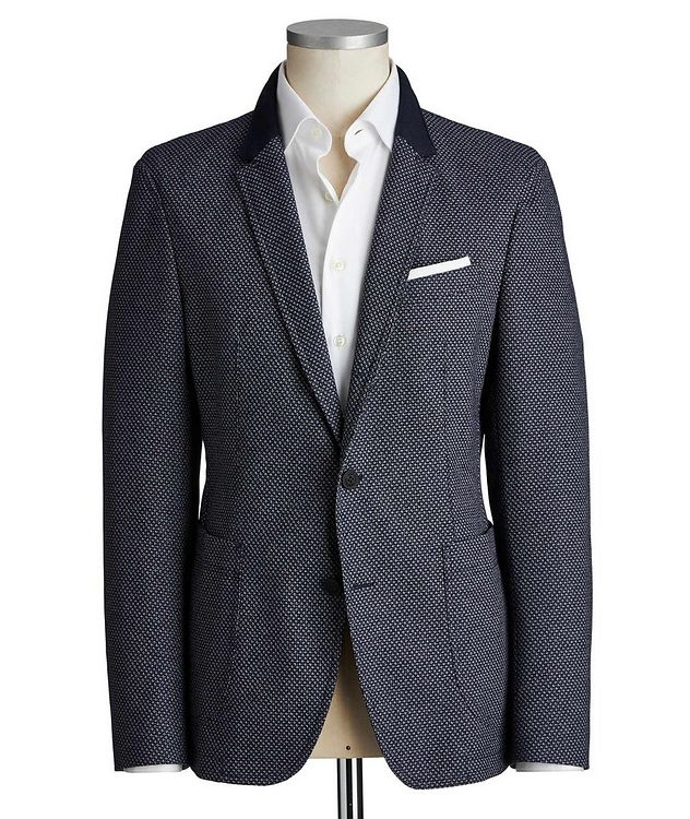 Slim Fit Diamond-Printed Cotton-Blend Sports Jacket picture 1