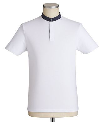 Emporio Armani Stretch-Cotton Mandarin Collar Polo