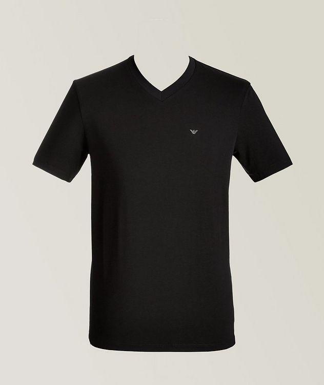 Travel Essentials Packable Stretch-Cotton V-Neck T-Shirt picture 1