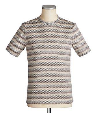 Giorgio Armani Checked Silk-Cotton T-Shirt