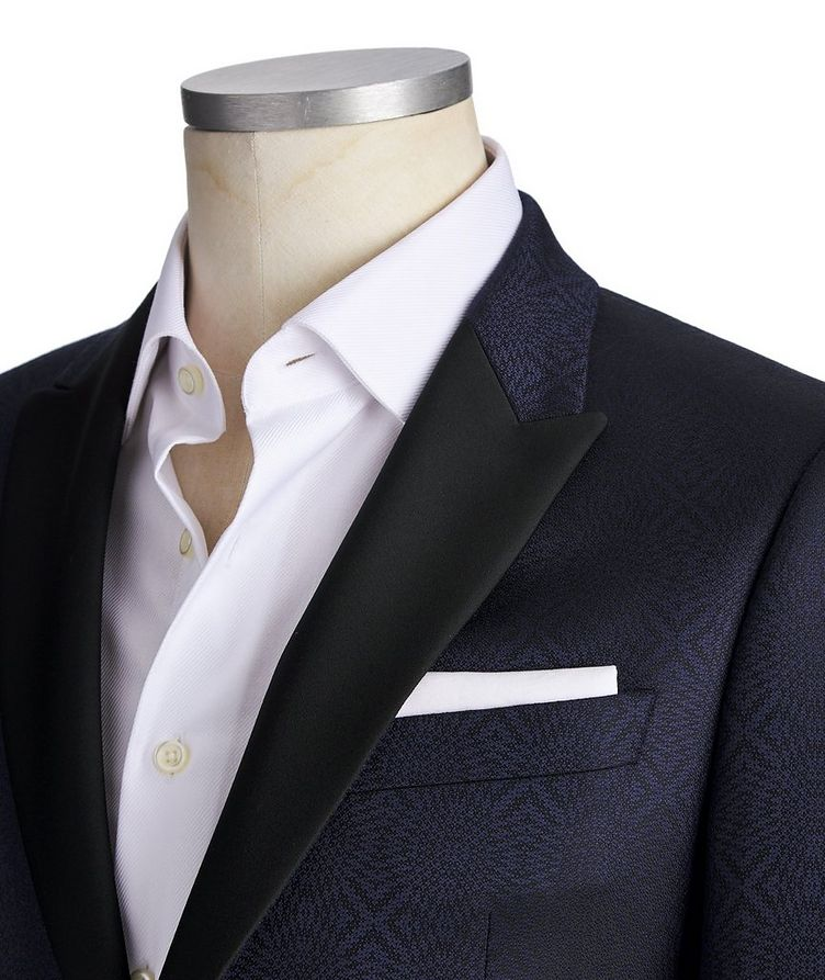 Printed Wool-Silk M-Line Tuxedo Jacket image 1