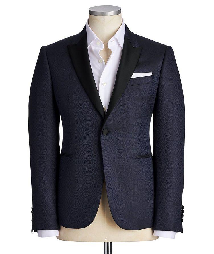 Printed Wool-Silk M-Line Tuxedo Jacket image 0