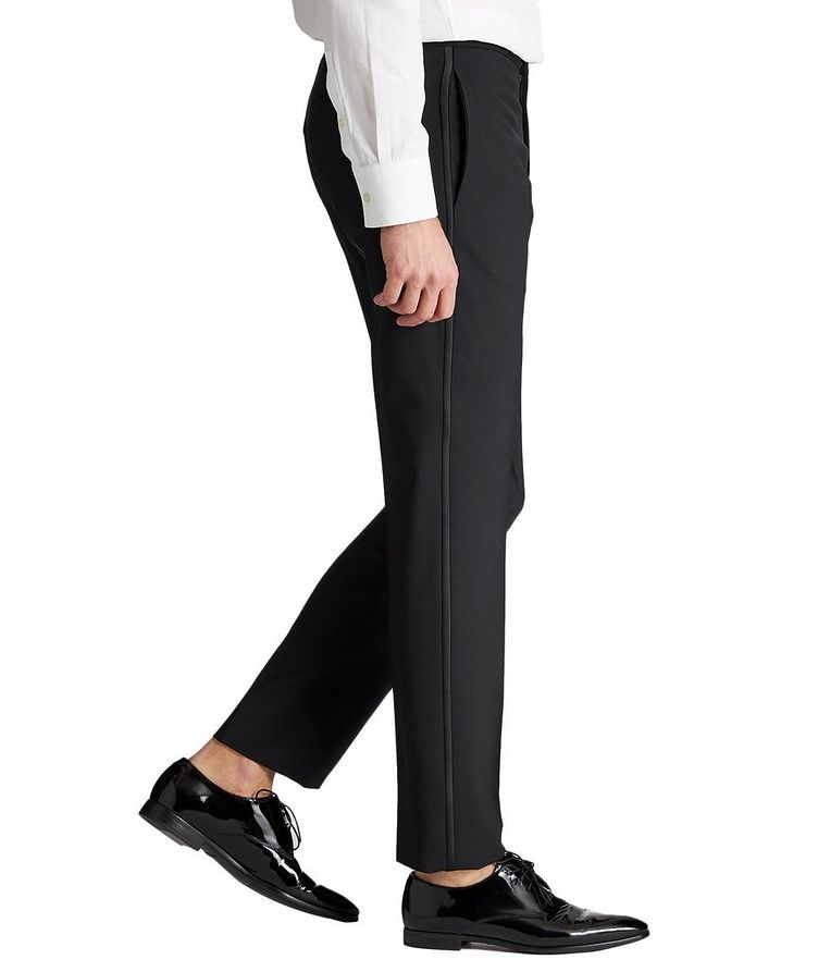 Slim Fit Stretch-Wool Tuxedo Pants image 3