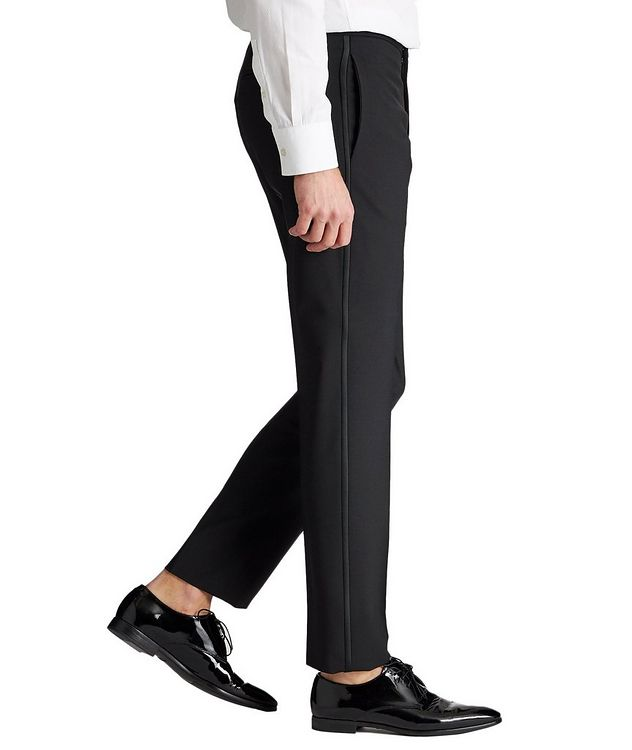Slim Fit Stretch-Wool Tuxedo Pants picture 4