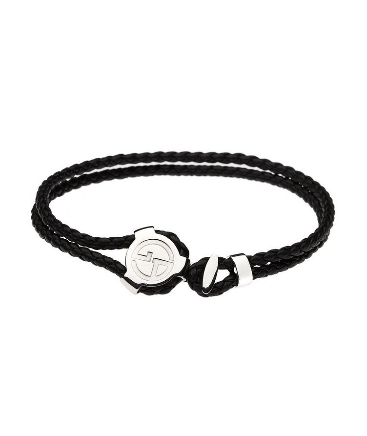 Braided Leather & Silver Bracelet image 0