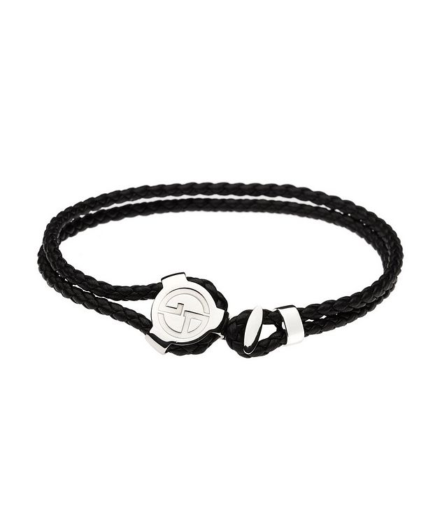 Braided Leather & Silver Bracelet picture 1