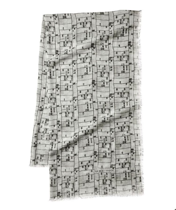 Abstract Check Cashmere-Blend Scarf image 0