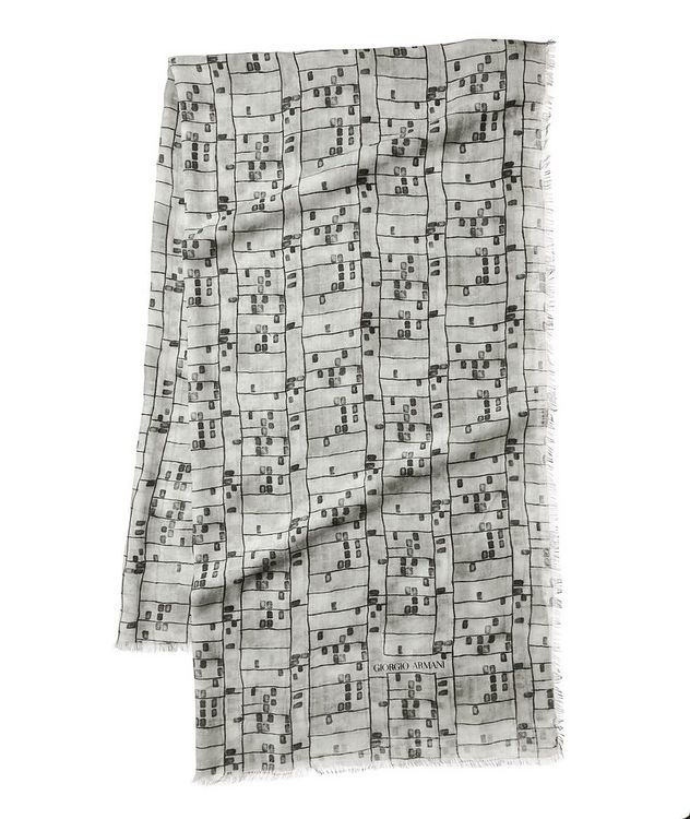 Abstract Check Cashmere-Blend Scarf picture 1