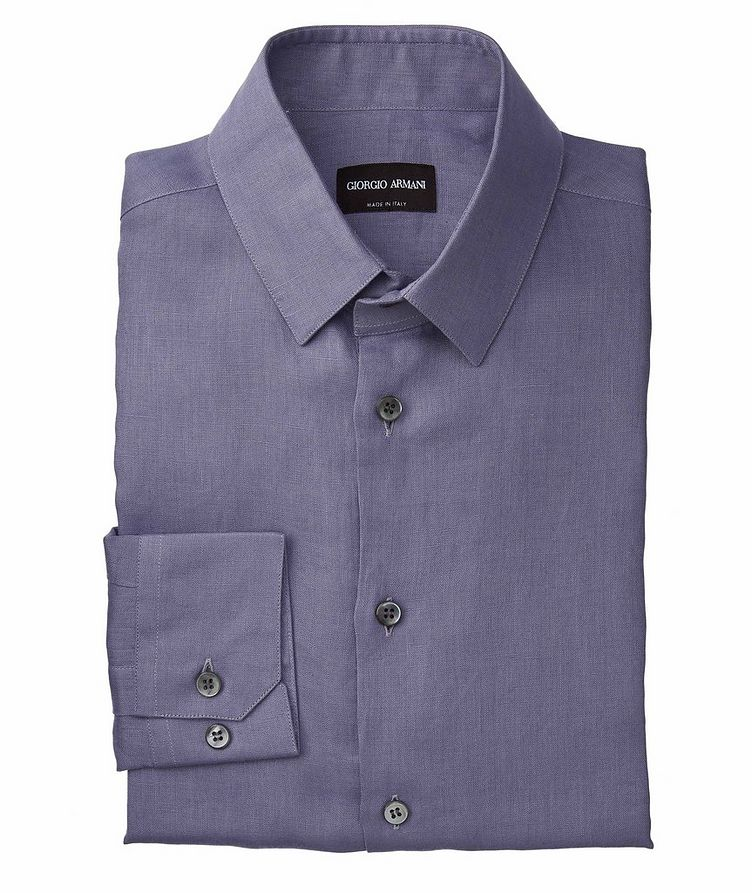Slim-Fit Linen Dress Shirt image 0