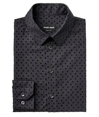 Giorgio Armani Velvet-Detailed Cotton Shirt