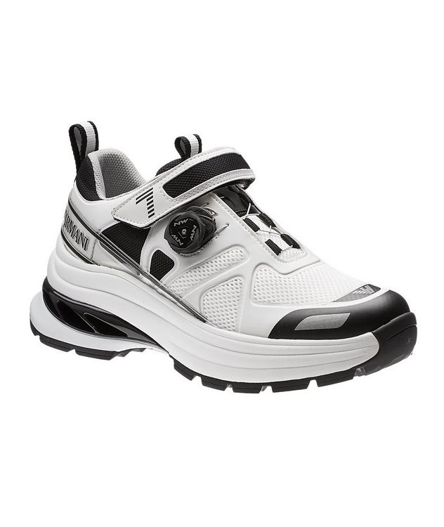 EA7 Leather and Mesh Sneakers picture 1
