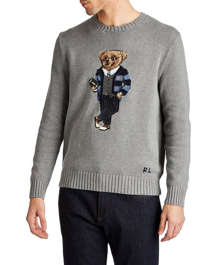 Bear-Intarsia Cotton Sweater image 0
