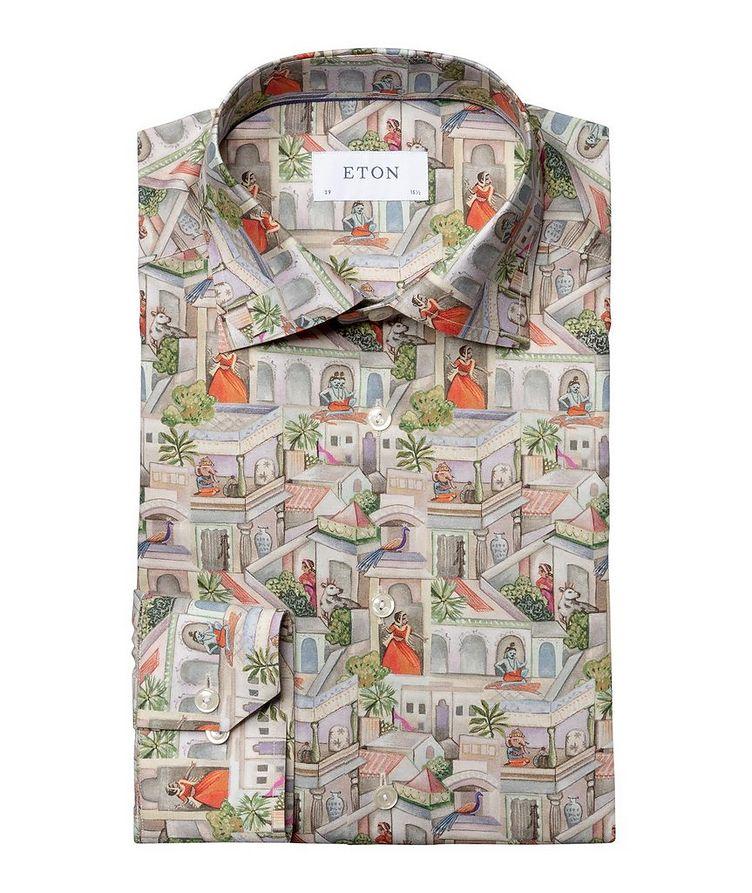 Slim Fit Town Square Motif Dress Shirt image 0