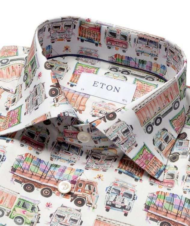 Slim Fit Truck-Printed Dress Shirt picture 2