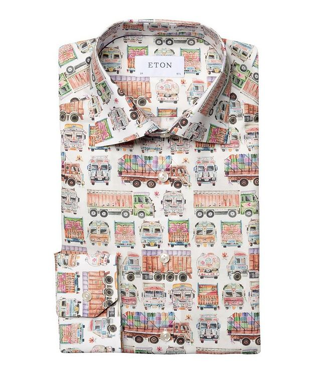 Slim Fit Truck-Printed Dress Shirt picture 1