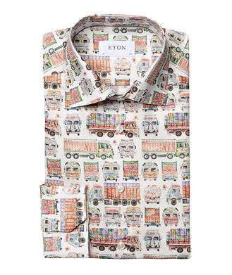 Eton Slim Fit Truck-Printed Dress Shirt