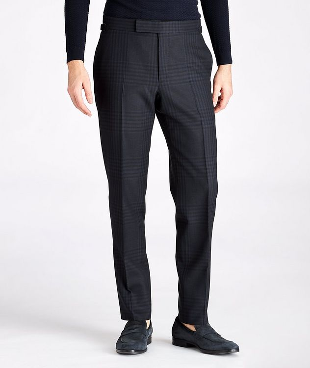 Slim Fit Checked Wool-Mohair Dress Pants picture 1
