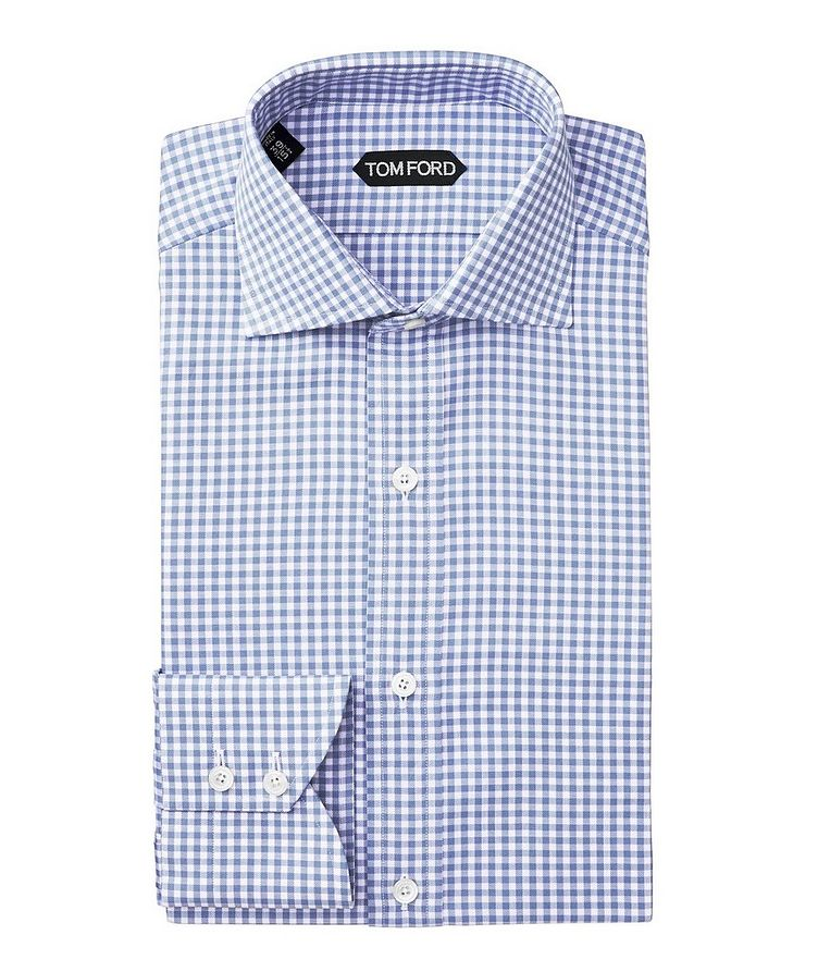 Slim Fit Gingham-Checked Dress Shirt image 0
