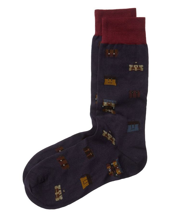 Luggage Print Stretch Cotton Socks image 0