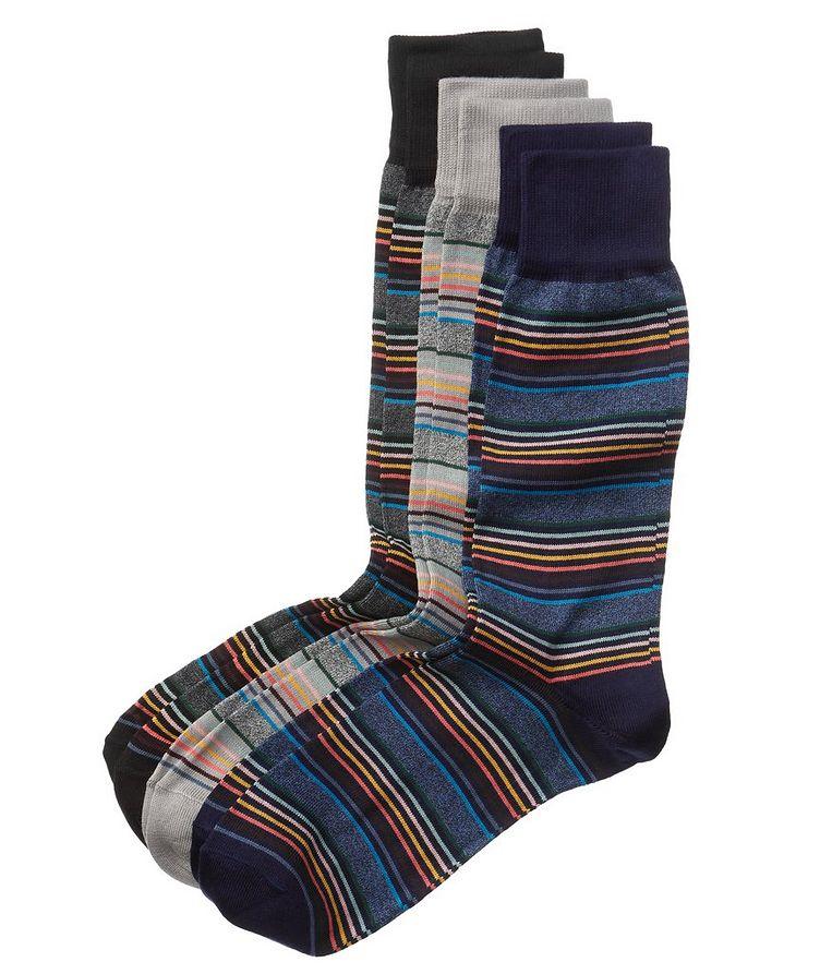 Three-Pack Striped Stretch-Cotton Socks image 0