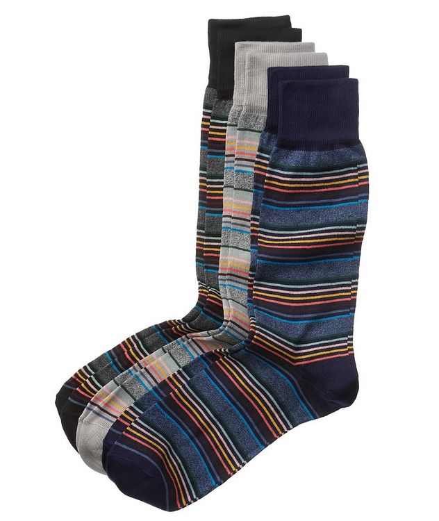 Three-Pack Striped Stretch-Cotton Socks picture 1