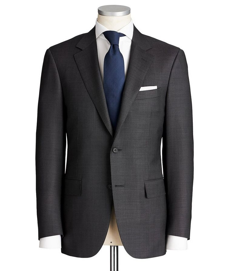 Contemporary Fit Chevron-Printed Stretch-Wool Suit image 0