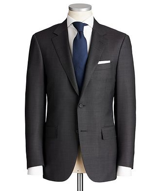 Canali Contemporary Fit Chevron-Printed Stretch-Wool Suit