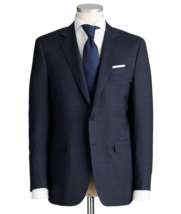 Contemporary Fit Checked Stretch-Wool Suit picture 1