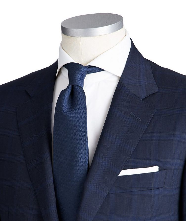 Contemporary Fit Checked Stretch-Wool Suit image 1