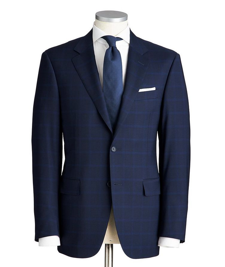 Contemporary Fit Checked Stretch-Wool Suit image 0