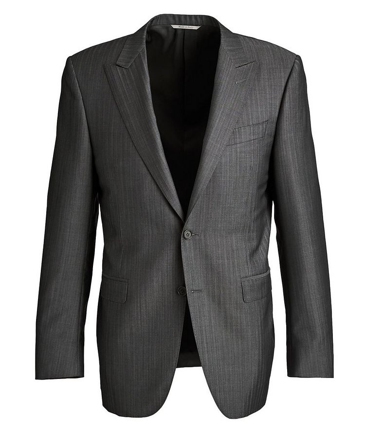 Contemporary Fit Pinstriped Wool-Mohair Suit image 0