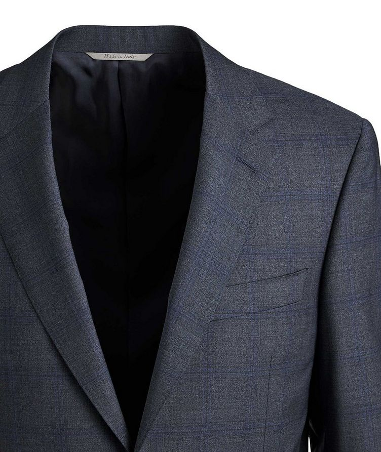 Contemporary Fit Checked Wool Suit image 1