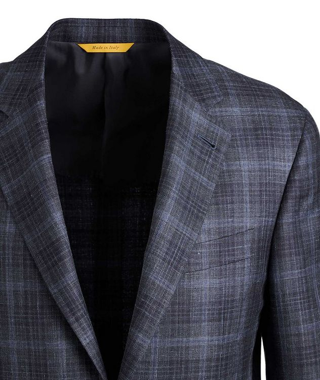 Kei Checked Wool, Silk, and Linen Sports Jacket picture 2