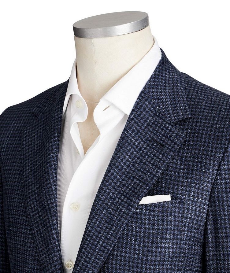 Contemporary Fit Houndstooth Wool, Silk & Linen Sports Jacket image 1