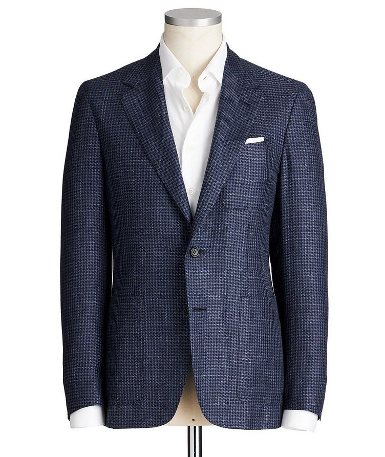 Contemporary Fit Houndstooth Wool, Silk & Linen Sports Jacket image 0