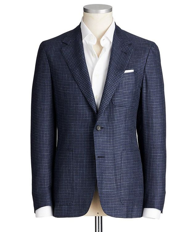 Contemporary Fit Houndstooth Wool, Silk & Linen Sports Jacket picture 1