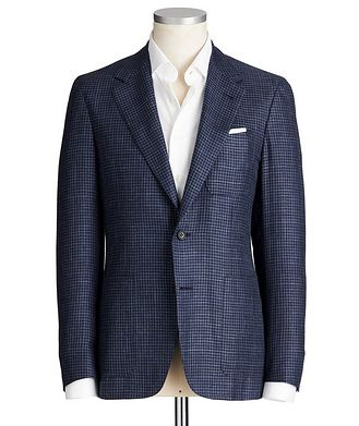 Canali Contemporary Fit Houndstooth Wool, Silk & Linen Sports Jacket