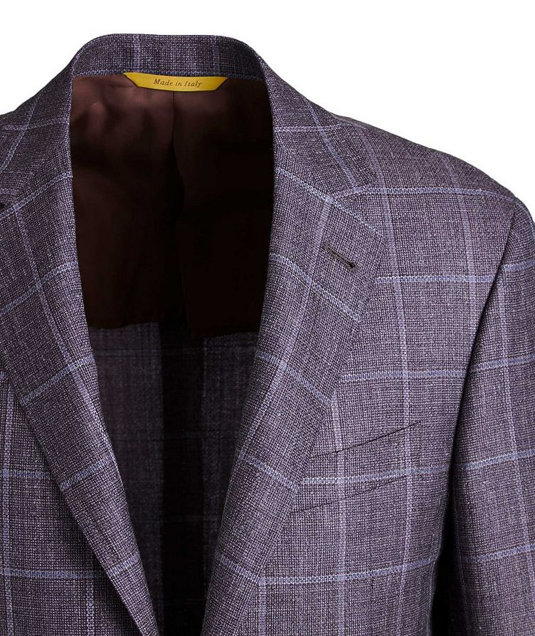 Kei Windowpane Checked Wool, Silk & Linen Sports Jacket image 1