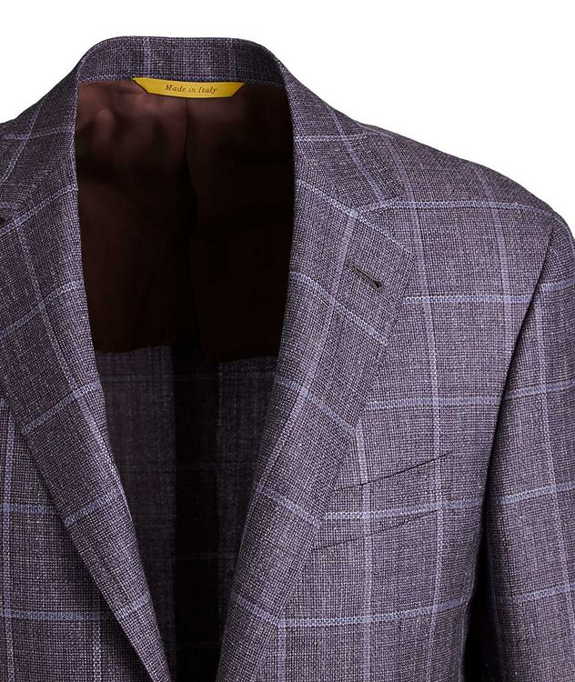 Kei Windowpane Checked Wool, Silk & Linen Sports Jacket picture 2