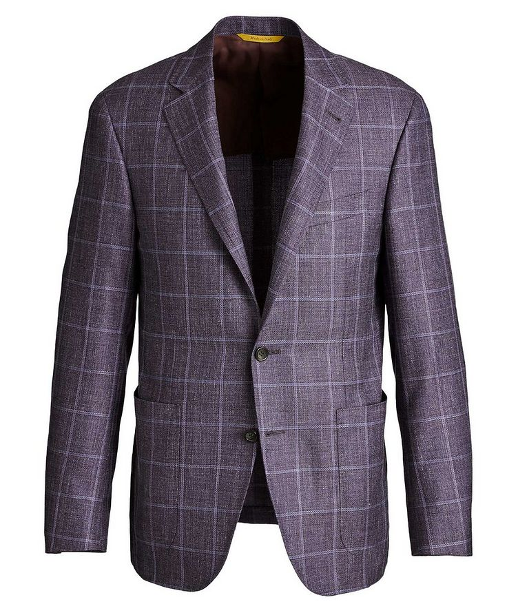 Kei Windowpane Checked Wool, Silk & Linen Sports Jacket image 0