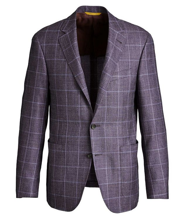 Kei Windowpane Checked Wool, Silk & Linen Sports Jacket picture 1