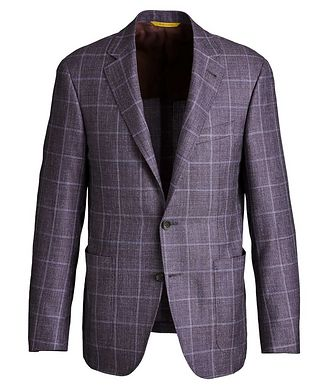 Canali Kei Windowpane Checked Wool, Silk & Linen Sports Jacket